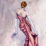 Watercolor of Red Dress